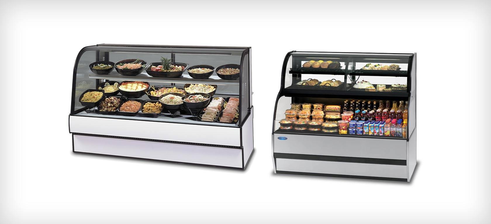 Refrigerated self-serve merchandisers