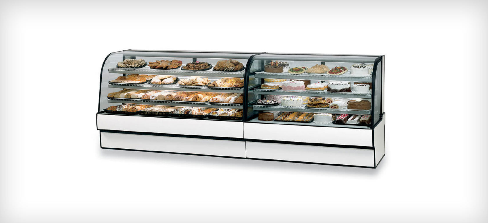 Curved glass refrigerated bakery and deli lineup