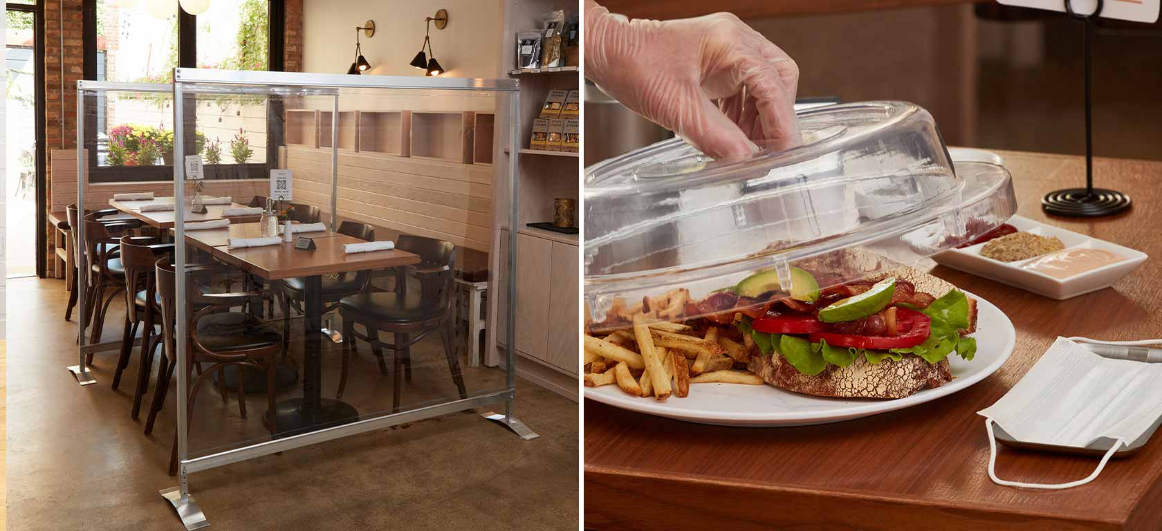On the left, plexiglass dividers between tables, and on the right a gloved hand uncovers food to protect it.