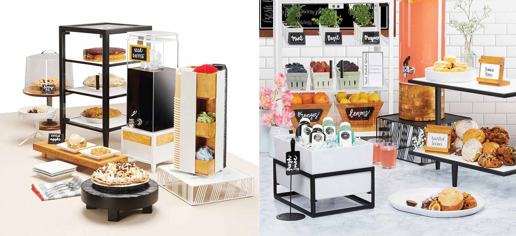 On the left a coffee and warm beverage display on white metal risers; on the right, a bakery and pastry display on black metal risers.