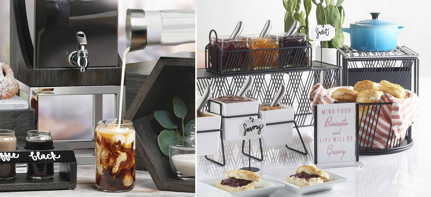 On the left, an upscale chrome-finish coffee bar display; on the right, breakfast pastry assortments on black metal risers.