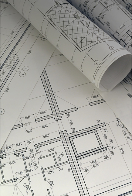 Blueprints for design on a table.