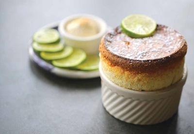 Souffle in a delicate ceramic saucer.
