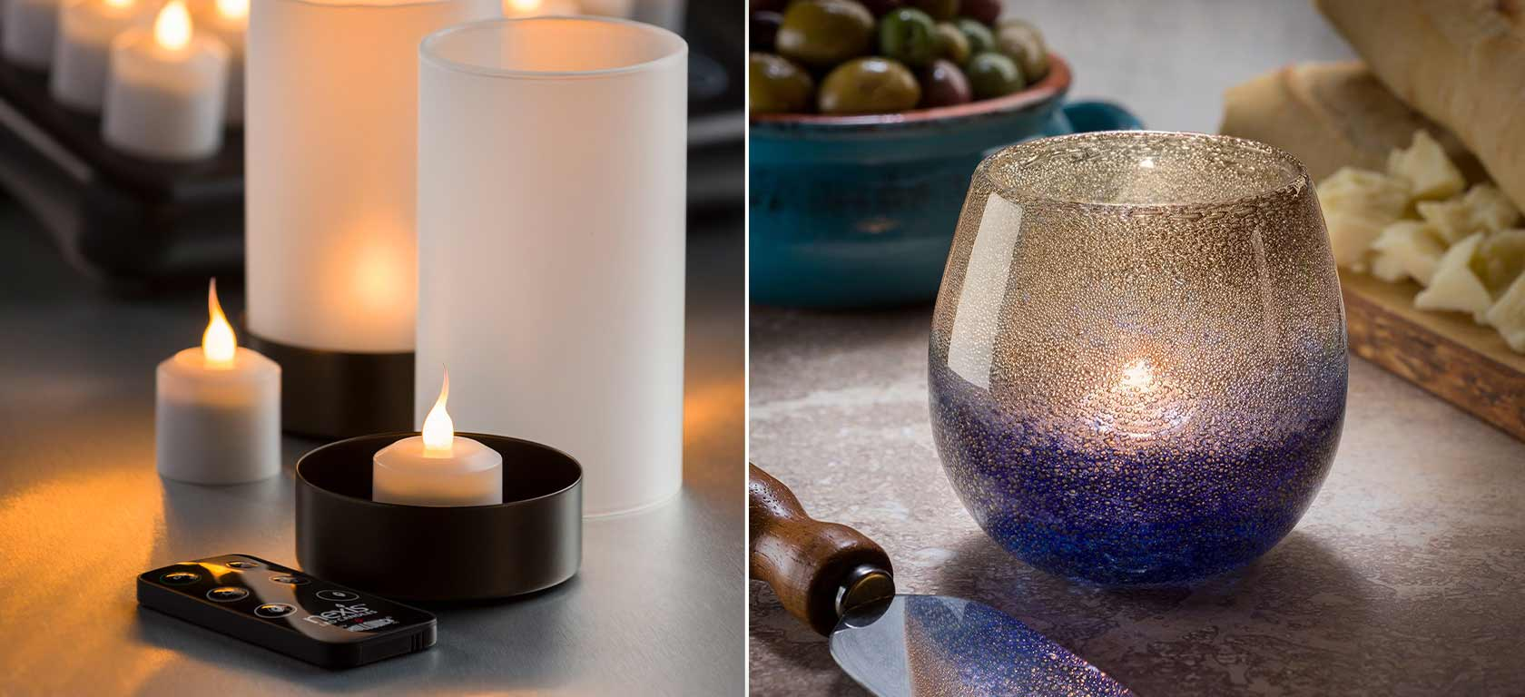 On the left electric remote controlled candles, on the right blue-gradient frosted glass candle holder.