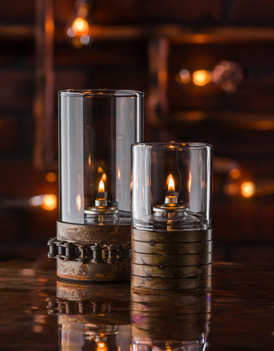 Glass candle votives in a rustic setting